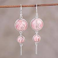 Rhodochrosite dangle earrings, 'Rock Rose' - Rhodochrosite and Sterling Silver Dangle Earrings