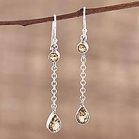 Citrine dangle earrings, 'Glistening Teardrops' - Teardrop Citrine and Sterling Silver Earrings from India