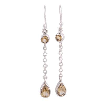 Teardrop Citrine and Sterling Silver Earrings from India