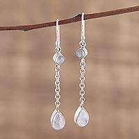 Rainbow moonstone dangle earrings, 'Glistening Teardrops' - Teardrop Rainbow Moonstone Dangle Earrings from India