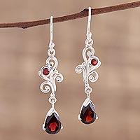 Garnet dangle earrings, 'Fantasy Drops' - Teardrop Garnet Dangle Earrings from India