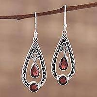 Garnet dangle earrings, 'Teardrop Romance' - Garnet and Sterling Silver Dangle Earrings from India