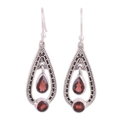 Garnet dangle earrings, 'Teardrop Romance' - Garnet and Sterling Silver Dangle Earrings from India