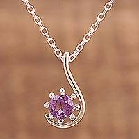 Amethyst pendant necklace, 'Flower Hook' - Amethyst and Sterling Silver Pendant Necklace from India