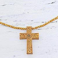 Wood cross pendant necklace, 'Natural Faith'