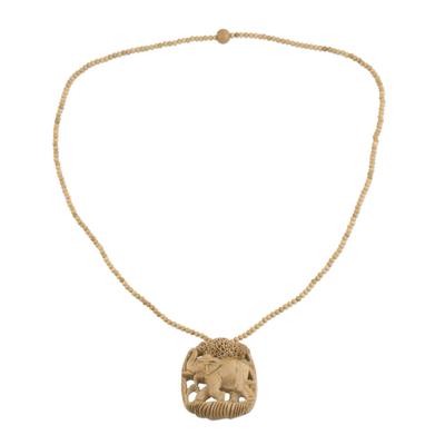 Wood pendant necklace, 'Forest Elephant' - Elephant Wood Pendant Necklace Hand Carved in India