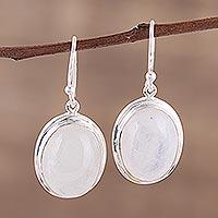 Rainbow moonstone dangle earrings, 'Elusive Shimmer' - Classic Rainbow Moonstone and Sterling Dangle Earrings