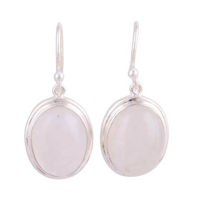 Classic Rainbow Moonstone and Sterling Dangle Earrings
