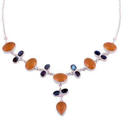 Orange onyx and labradorite Y-necklace, 'Evening Serenity' - Orange Onyx and Labradorite Sterling Silver Y-Necklace