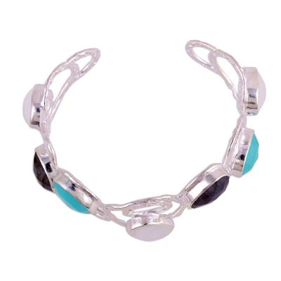 Multi-gemstone cuff bracelet, 'Magical Moonlight' - Multi-Gemstone Sterling Silver Cuff Bracelet from India