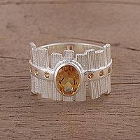 Citrine cocktail ring, 'Picket Fences' - Textured Rhodium Plated Silver Ring with Citrine