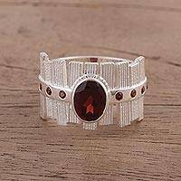 Garnet cocktail ring, 'Picket Fences' - Cocktail Ring with Garnets in Rhodium Plated Silver