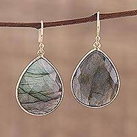 Gold plated labradorite dangle earrings, 'Aurora Tears' - Gold Plated Dangle Earrings with Labradorite