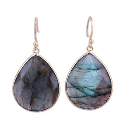 Gold plated labradorite dangle earrings, 'Aurora Tears' - Gold Plated Dangle Earrings with Labradorite