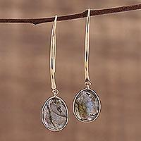 Gold plated labradorite dangle earrings, 'Aurora Drops' - 15 Carat Labradorite Dangle Earrings in 18k Gold Plate