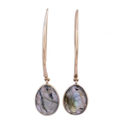 Gold plated labradorite dangle earrings, 'Aurora Drops' - 15 Carat Labradorite Dangle Earrings in 18k Gold Plate