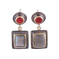 Gold accented ruby and labradorite dangle earrings, 'Graceful Gems' - Ruby and Labradorite 18k Gold Accented Dangle Earrings