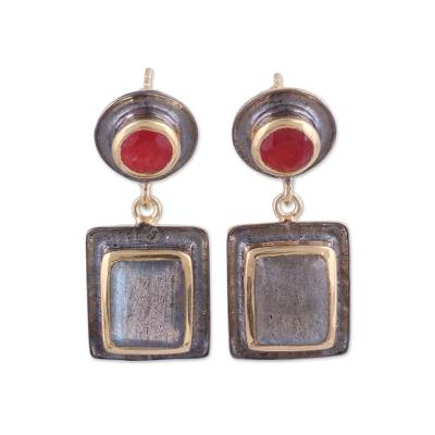 Ruby and Labradorite 18k Gold Accented Dangle Earrings