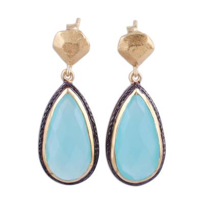 Gold plated chalcedony dangle earrings, 'Aqua Antiquity' - 18k Gold Plated Sterling Earrings with Chalcedony