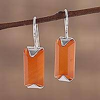 Onyx drop earrings, 'Solid State' - Minimalist Orange Onyx and Silver Drop Earrings