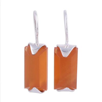 Onyx drop earrings, 'Solid State' - Minimalist Orange Onyx and Silver Drop Earrings