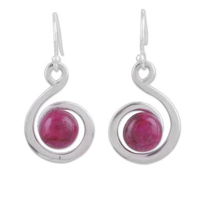 Ruby dangle earrings, 'Crimson Swirl' - Handmade Ruby and Sterling Silver Dangle Earrings from India