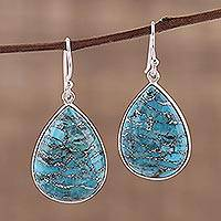 Sterling silver dangle earrings, 'Sweet Sabarmati' - Dangle Earrings with Composite Turquoise and Silver