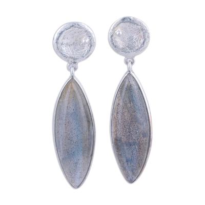 Labradorite dangle earrings, 'Grey Eyes' - Labradorite and Textured Sterling Silver Earrings