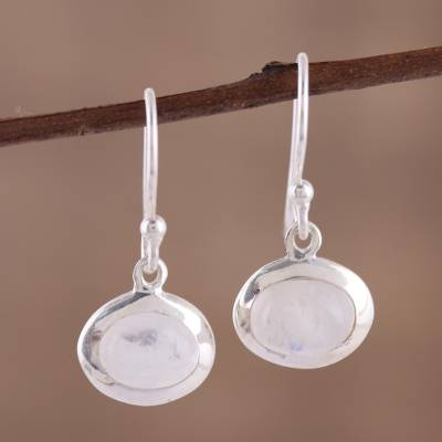 Rainbow moonstone dangle earrings, 'Crystal Mist' - Dangle Earrings with Sterling Silver and Rainbow Moonstone