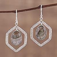 Labradorite dangle earrings, 'Frozen Fire' - 925 Sterling Silver and Labradorite Dangle Earrings