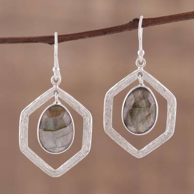 Labradorite dangle earrings, 'Frozen Fire' - 925 Sterling Silver and Labradorite Dangle Earrings