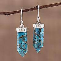 Sterling silver dangle earrings, 'Blue Bullet' - Sterling Silver Dangle Earrings with Composite Turquoise