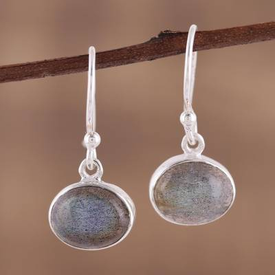 Labradorite dangle earrings, 'Dark Aurora' - Sterling Silver Hook Earrings with Labradorite Cabochons