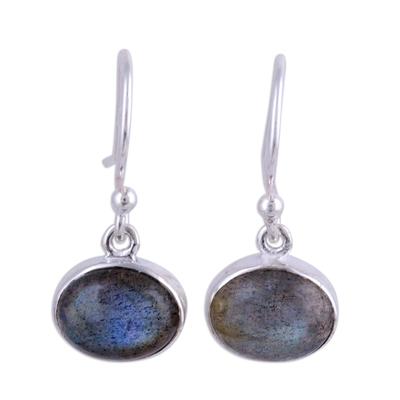 Labradorite dangle earrings, 'Dark Aurora' - Sterling Silver Hook Earrings with Labradorite Cabochons