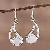 Rainbow moonstone dangle earrings, 'Misty Charm' - Faceted Rainbow Moonstone and Sterling Silver Earrings