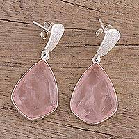 Rose quartz dangle earrings, 'Blushing Romance' - 34 Carat Rose Quartz and Silver Dangle Earrings