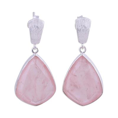 Rose quartz dangle earrings, 'Blushing Romance' - 34 Carat Rose Quartz and Silver Dangle Earrings
