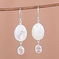 Rainbow moonstone and rose quartz dangle earrings, 'Rainbow Magic' - 12 Carat Rainbow Moonstone and Rose Quartz Earrings