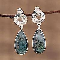 Labradorite and prasiolite dangle earrings, 'Lucid Shadows' - Labradorite and Prasiolite Post Dangle Earrings