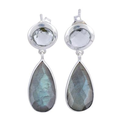 Labradorite and prasiolite dangle earrings, 'Lucid Shadows' - Labradorite and Prasiolite Post Dangle Earrings