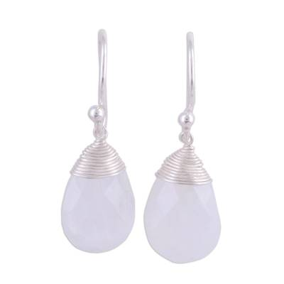 Faceted Rainbow Moonstone and Silver Dangle Earrings