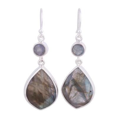 Labradorite dangle earrings, 'Frozen Aurora' - 36 Carat Labradorite and Silver Dangle Earrings