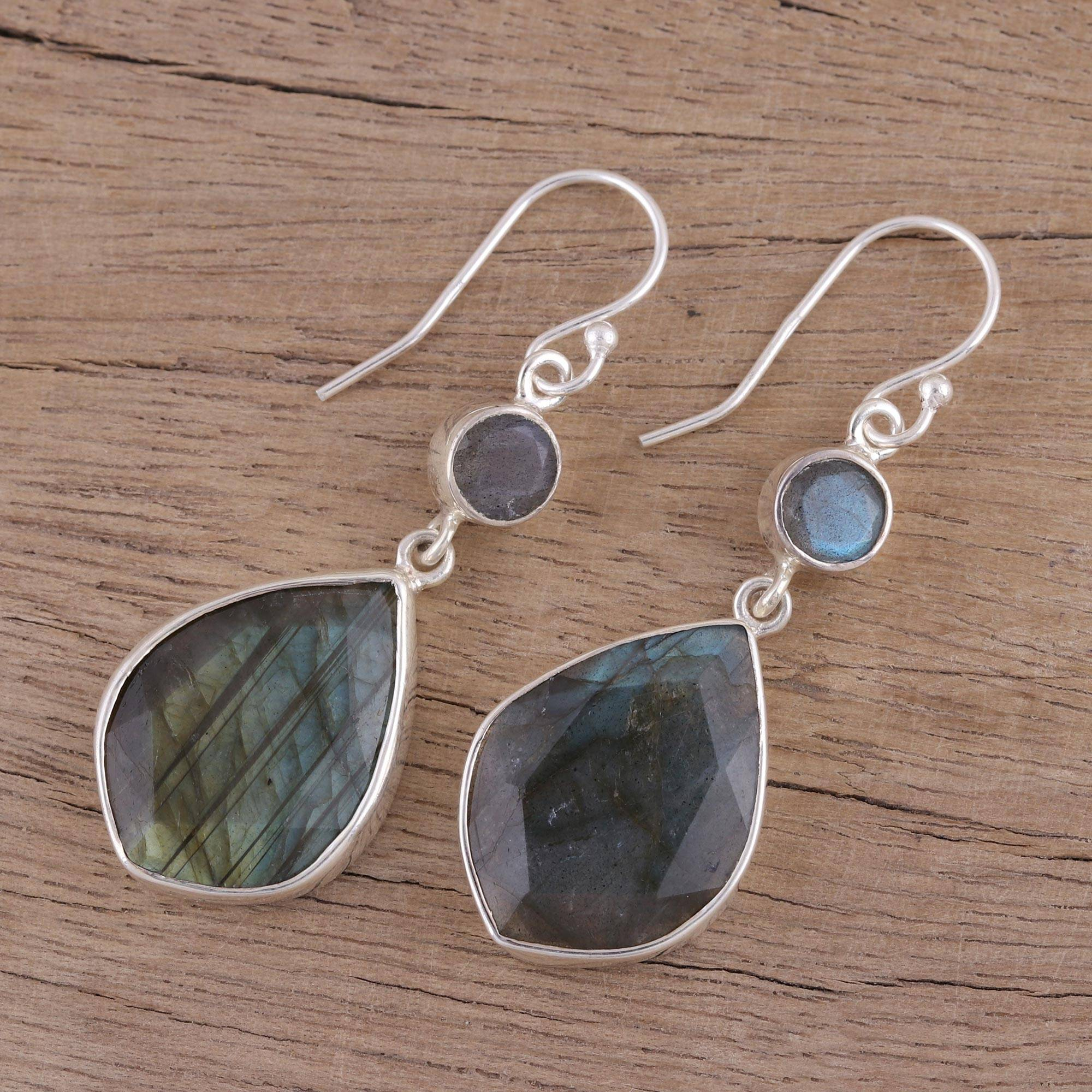 Labradorite dangle earrings, 'Frozen Aurora' Sterling Silver gemstone drop earrings Jewelry Trends