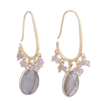 Gold plated labradorite dangle earrings, 'Regal Beauty' - Gold Plated 13 Carat Labradorite Dangle Earrings