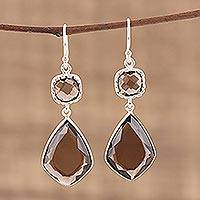 Smoky quartz dangle earrings, 'Smoky Sophistication' - 41 Carat Smoky Quartz and Sterling Silver Earrings