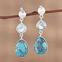 Blue topaz dangle earrings, 'Reflections of Blue' - Blue Topaz and Sterling Silver Post Dangle Earrings