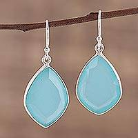 Chalcedony dangle earrings, 'Sky Muse' - Blue Chalcedony Earrings in Sterling Silver Bezels