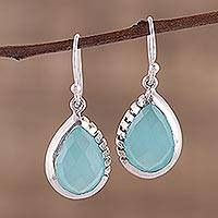 Chalcedony dangle earrings, 'Channeling Blue' - Modern Aqua Chalcedony and Sterling Silver Earrings