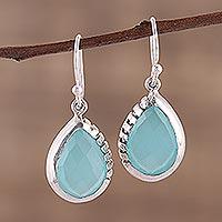 Chalcedony dangle earrings, 'Channeling Blue' - Modern Aqua Chalcedony and Sterling Silver Earrings
