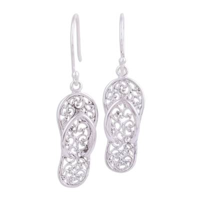 Sterling silver dangle earrings, 'Flip-Flop Time' - Sterling Silver Flip Flop Sandal Earrings from India
